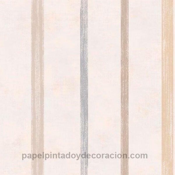 Papel pintado Caselio rayas jaspeadas marrones y azul fondo marrón textura rugosa KDO66610019