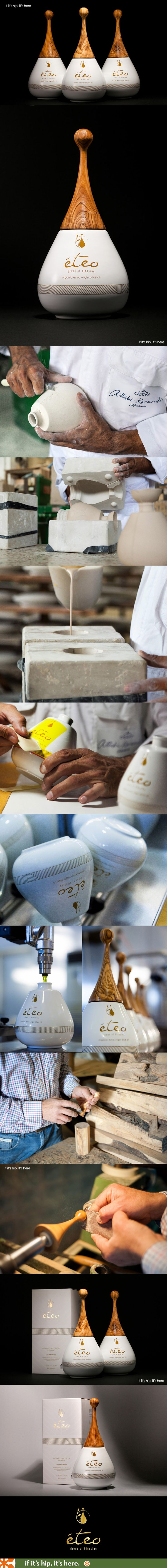 """Eteo Drops of Blessing Extra Virgin Olive Oil comes in a hand crafted porcelain bottle with top made from olive tree wood. - Brought into harmony with one another, creating the """"perfect drop-like"""" shape bottle."""