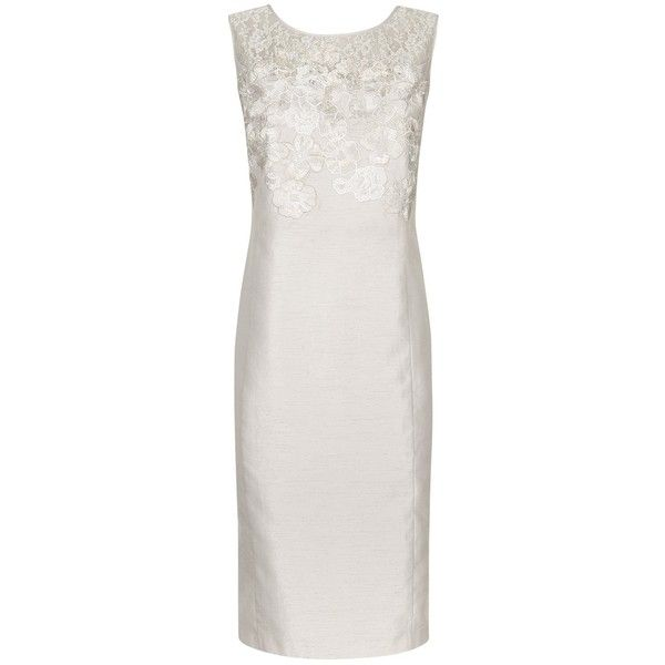 Jacques Vert Embroidered Floral Shift Dress, Mid Neutral (€61) ❤ liked on Polyvore featuring dresses, women plus size dresses, formal maxi dresses, plus size formal dresses, lace dress and lace sleeve dress