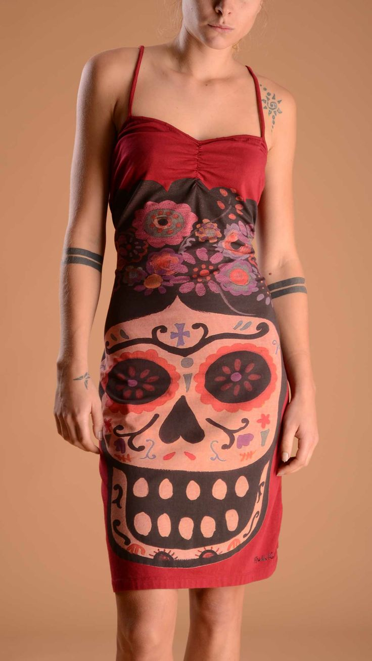 FRIDA KAHLO Mexican skull printed dress at front, plained red at back, elasticized breast.