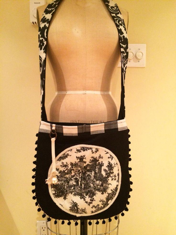 Summer crossbody,linnen&cotton,toile de jouy applique,pom-pom trimm,pearl&tassel charms from Delightful Creation
