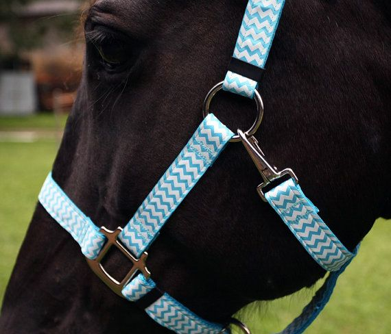 Chevron Horse Halter - Light Blue and White Chevrons