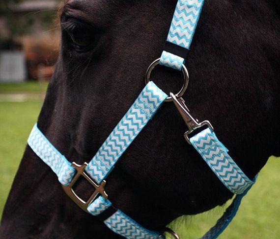 Chevron Horse Halter - Light Blue and White Chevrons