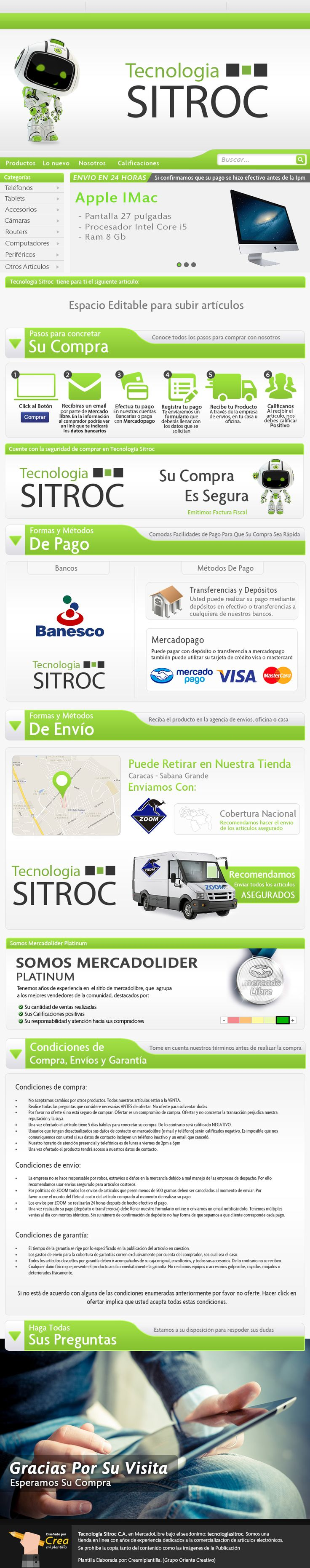 TECNOLOGÍA SITROC- Venta de accesorios para Teléfonos. Elaborado por Crea mi Plantilla nuestra división encargada de diseñar Plantillas para Mercadolibre, en el año 2015.
