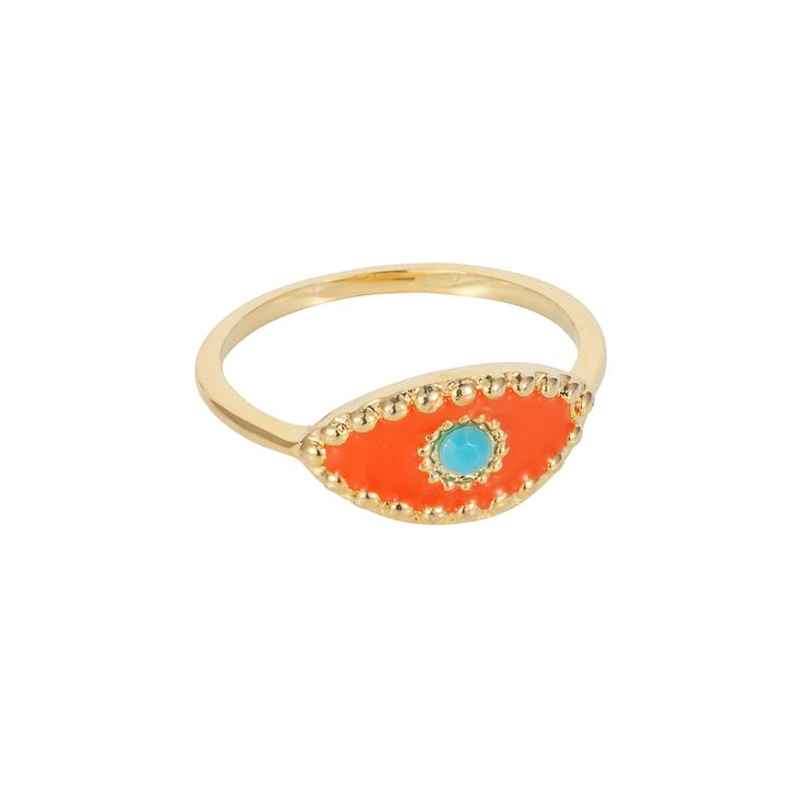 Orange Eye ring | $49. Fine ring crafted in 9ct gold plating, with delicate evil evil pendant motif in orange enamel with turquoise coloured stone pupil. Shop now: http://www.savethelastpinker.com.au/shop/orange-eye-ring/