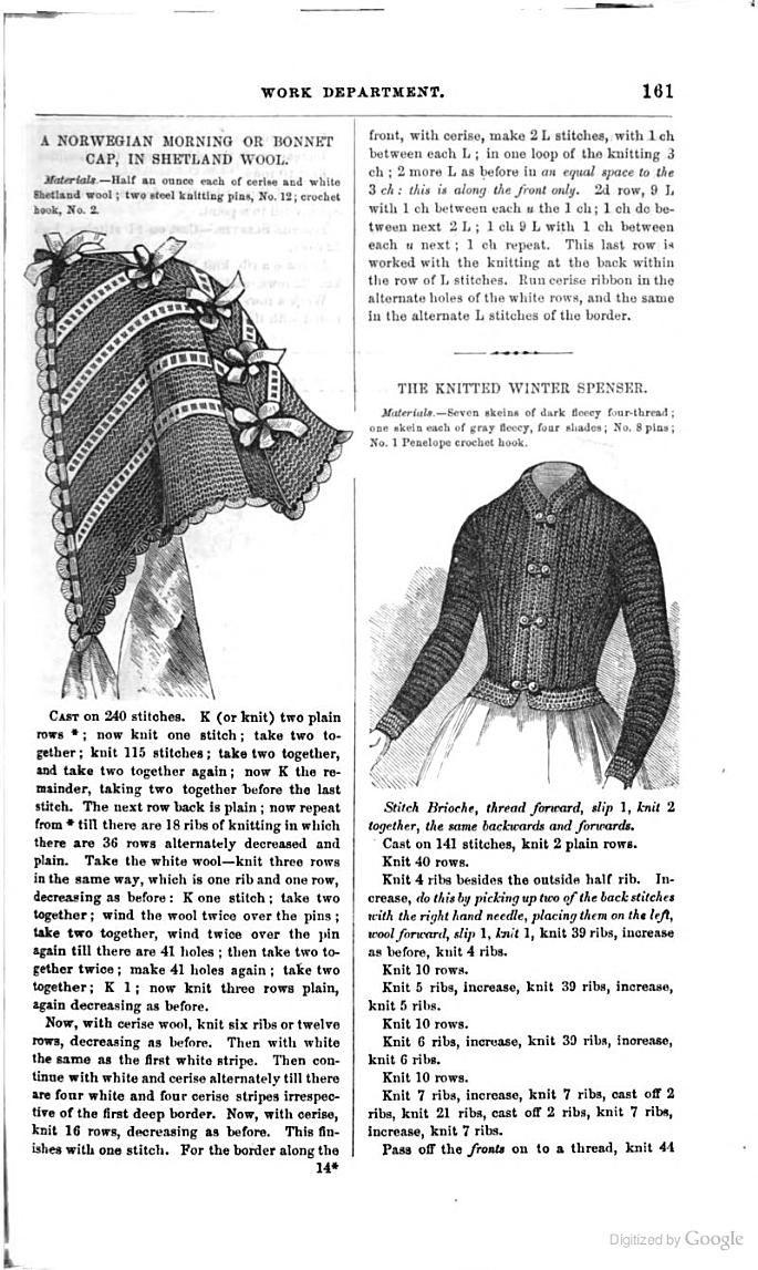 Godey's Magazine - Google Books Norwegian Morning or Bonnet Cap, Knitted Winter Spenser