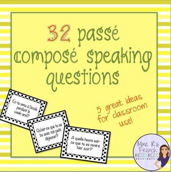 French pass compos speaking task cards - avoir and treWant to get your French students speaking in the pass compos?  This NO PREP activity using avoir and tre verbs is always a favorite in my class.It can be used after learning the pass compos or as a back to school review for advancing students.There are 32 questions in all.Included also in this product are 4 other great ideas for using these questions in your class tomorrow!Here's how it works:1.