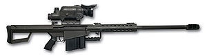 "The M82 is a recoil-operated, semi-automatic anti-materiel rifle developed by the American Barrett Firearms Manufacturing company. A heavy SASR (Special Application Scoped Rifle), it is used by many units and armies around the world. It is also called the ""Light Fifty"" for its .50 caliber BMG (12.7 × 99 mm) chambering."