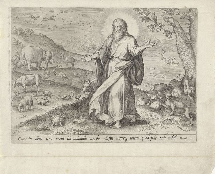Johann Sadeler (I) | Schepping van de dieren, Johann Sadeler (I), Gerard de Jode, 1575 | Dag vijf van de Schepping: God schept de dieren. God de Vader in de gedaante van een oude man, staand te midden van verschillende dieren. Vogels in de lucht. De tweede prent van een achtdelige reeks over het scheppingsverhaal.