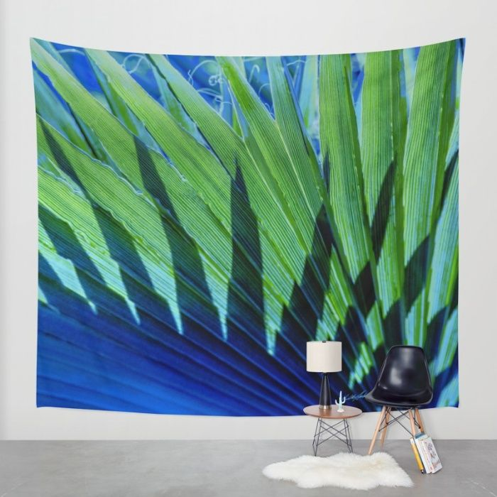 Palm Shadows Wall Tapestry by Vikki Salmela | Society6 #photographic #digital #modern #tropical #palm #art on wall #tapestries for #home #office #apartment #decor. Use as #curtains, #bedspread or large wall art. Coordinating #pillows #rugs #duvet covers #clocks and other #products.
