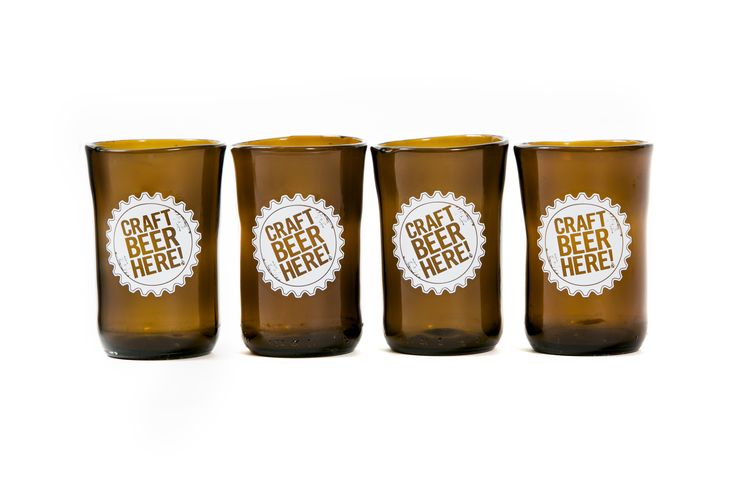 Craft Beer Here Tumblers- Upcyced glasses