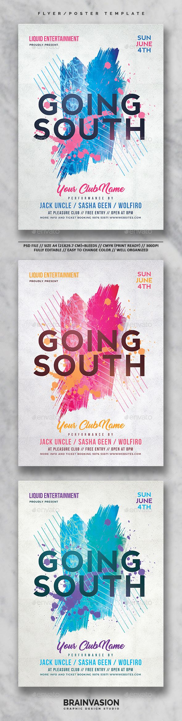 Club Flyer/Poster Template Vol.02 — Photoshop PSD #poster #awesome • Download ➝ https://graphicriver.net/item/club-flyerposter-template-vol02/19635479?ref=pxcr