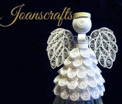 White Angel Ornament or tree topper in Quilling, a great gift!