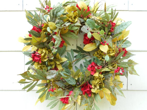 Hydrangea Wreath...Autumn....Fall....Olive Leaf....Door Wreath.....Red Hydrangea....Wall Wreath....Red Berry....