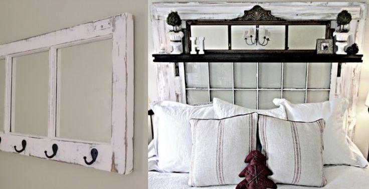 altes Fenster anstatt Kopfteil am Bett