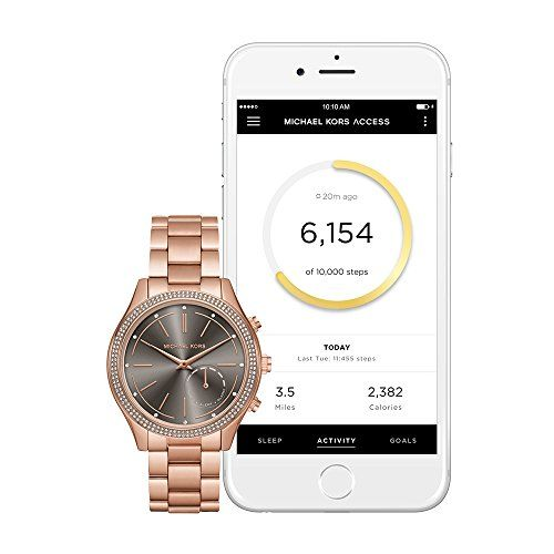 Michael Kors Access Hybrid Rose Gold Slim Runway Smartwatch MKT4005  Bracelet material: rose gold-tone stainless steel, case material: rose gold-tone stainless steel, case size: 42 mm, case thickness: 9 mm, water resistant: 5 atm  Compatibility: android os 4.4+ or iPhone 5/iOS 8.2+; connectivity: bluetooth smart enabled / 4.1 low energy, wi-fi 802.11 b/g/n; estimated battery life: up to 4 months  Analog-quartz Movement  Case Diameter: 42mm  Water resistant to 50m (165ft: in general, su...