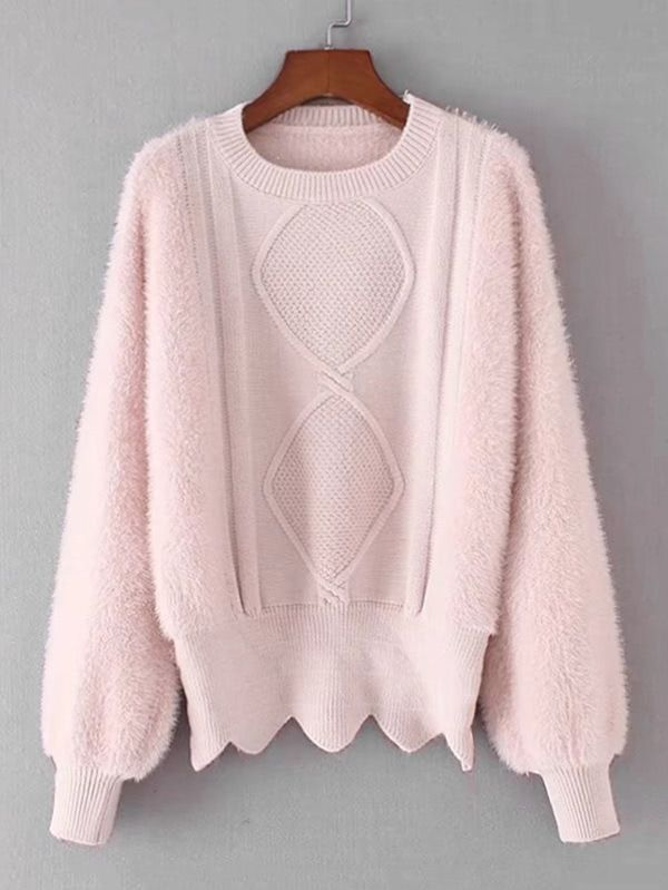 979538c92d Shop Lantern Sleeve Zigzag Hem Fluffy Sweater online. SheIn offers Lantern  Sleeve Zigzag Hem Fluffy Sweater   more to fit your fashionable needs.