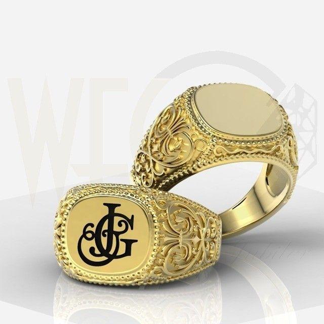 Sygnet z żółtego złota / Signet ring made from yellow gold / 2884 PLN #signet_ring #gold #zloto #jewellery #jewelry #man #bizuteria #sygnet