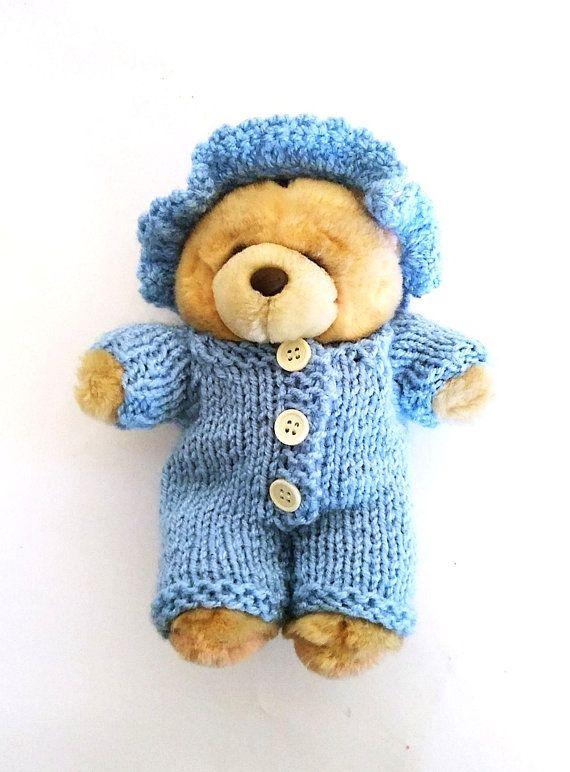 crochet cap & knit rompers onesie for Teddy Bear 18 cm 7 inch nutka_art handmade doll bear clothes