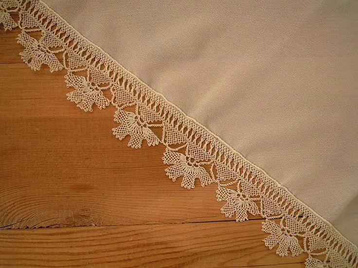 cream scarf with needle lace trim namaz scarf by PashaBodrum