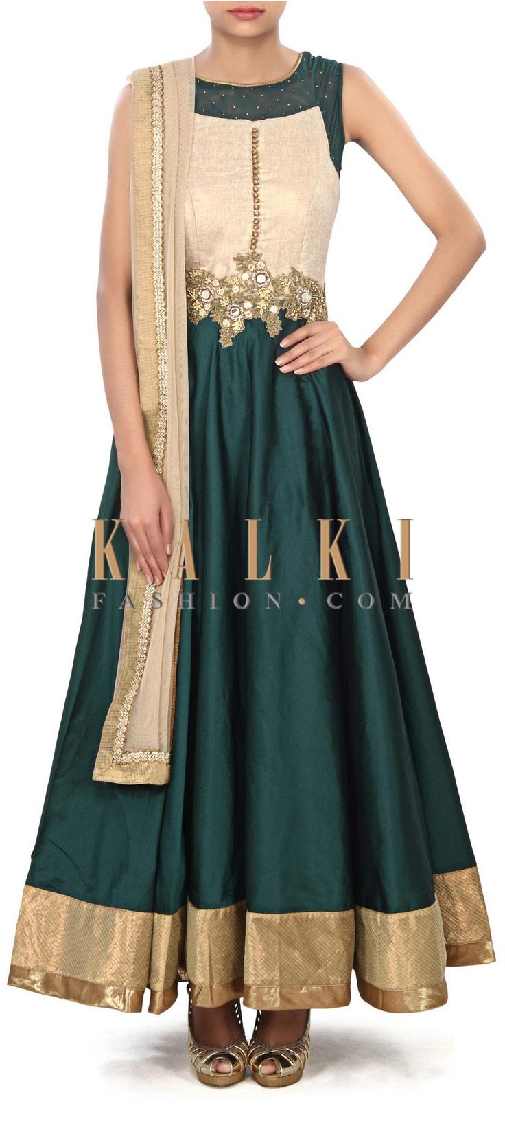 Buy this Dark green anarkali suit enhanced in mirror and zardosi embroidery only on Kalki