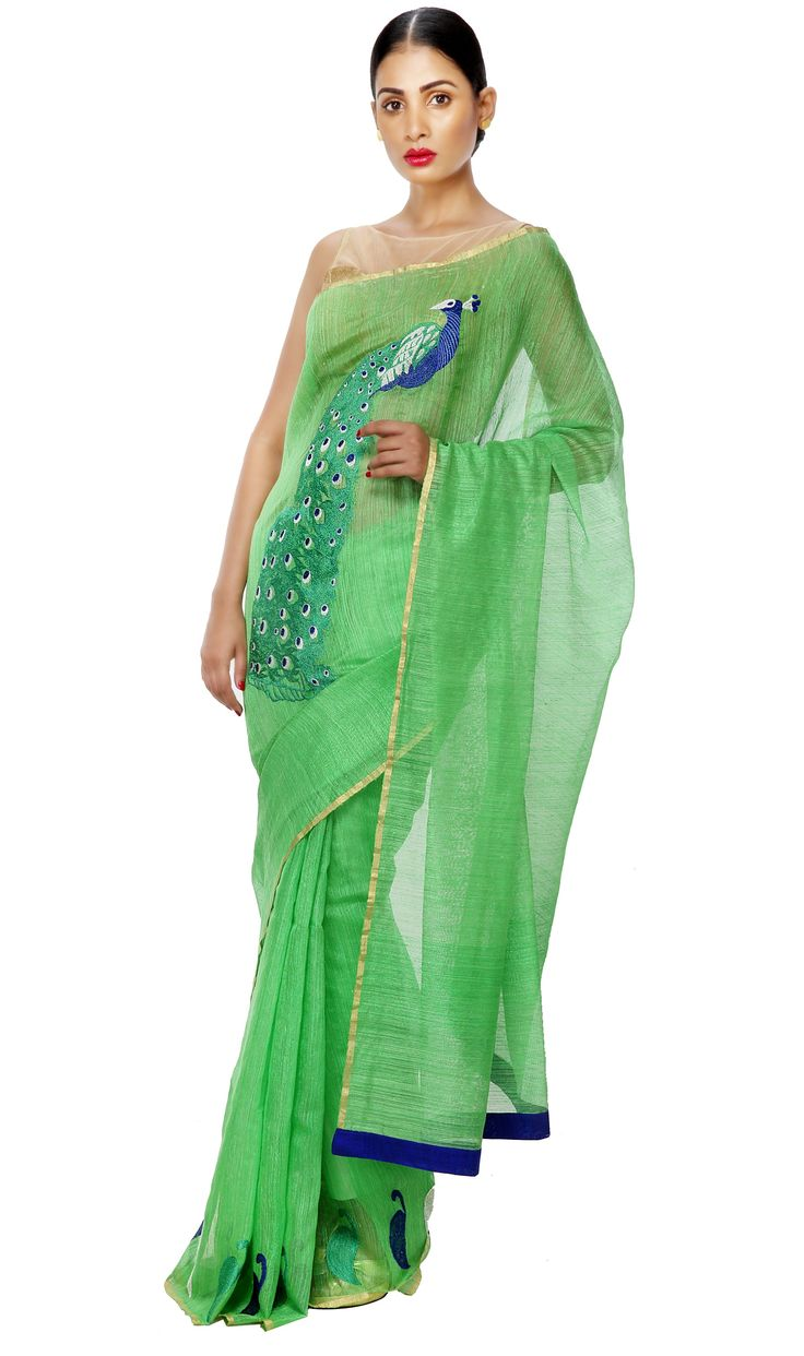 - THE CELEBRATION IS YOU - Matka Silk Green Festive/ Wedding/ Party Saree with Embroidered Peacock. Now on Sale at 30% OFF. Visit http://shopping.threadturner.com/sarees/festive-89/festive-fauna-matka-silk-green-saree