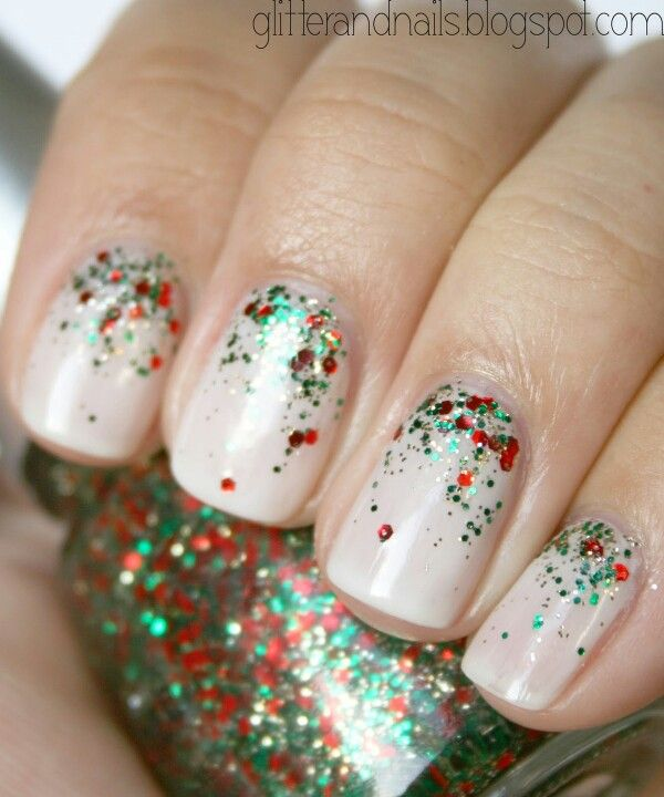 Nails, red and green Christmas glitter, nude pink