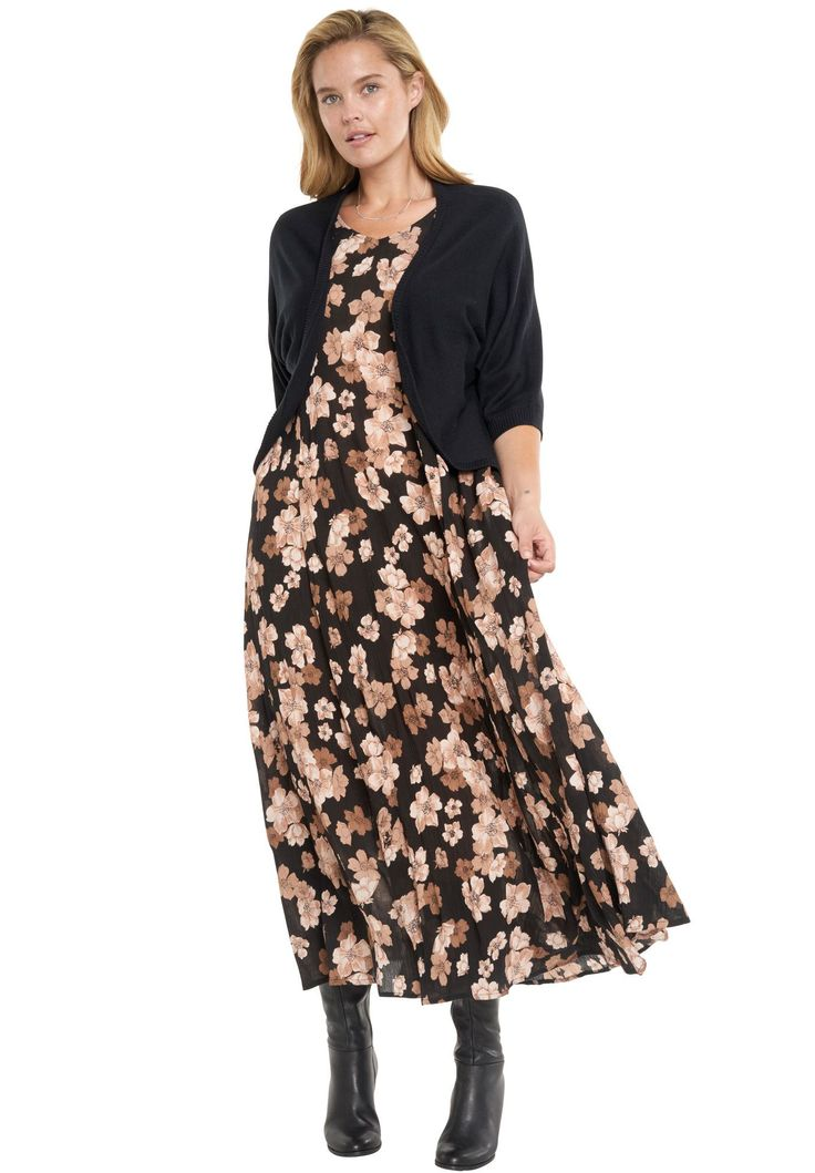 Petite short sleeve crinkle dress - Women's Plus Size Clothing