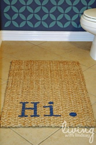 welcome rugDecor, Stencils Rugs, Projects, Ideas, Painting Rugs, Doors Mats, Front Doors, Diy Rugs, Crafts