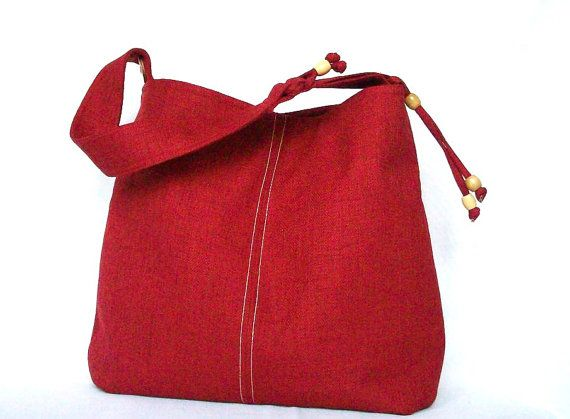 Red Hobo Red Shoulder Bag Red Linen Hobo Top Stitch by PouchStyle, $55.00
