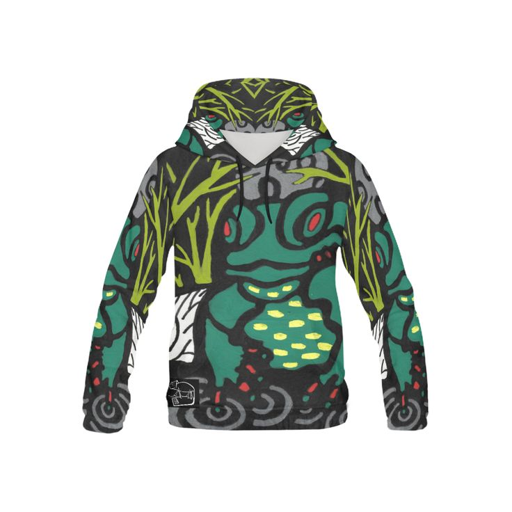CHAMELEON SURF FROG All Over Print Hoodie for Kid (USA Size) (Model H13)