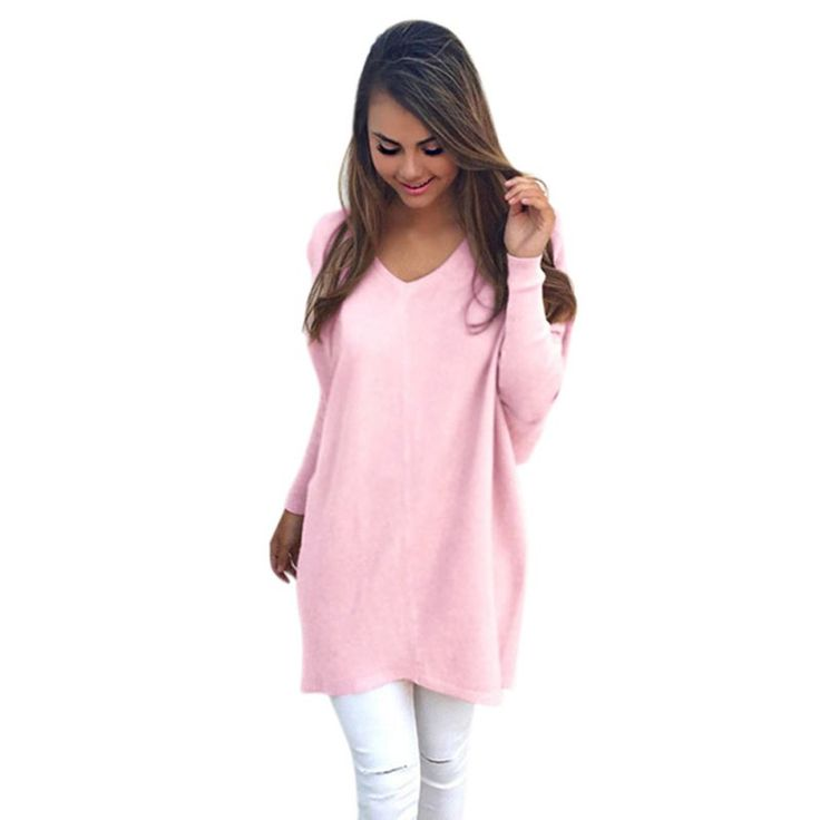 Autumn Women Ladies V-Neck Chunky Knitted Oversized Baggy Sweaters Thin Jumper Tops Outwear
