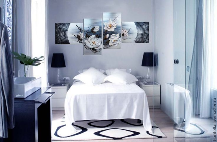 """Купить Объемная фреска """"Магнолии"""" - темно-серый, картина для интерьера, модульная картина, чёрно-белый"""