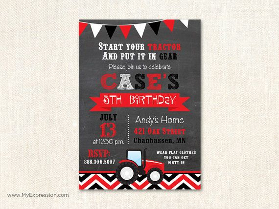 Red Tractor Birthday Invitation  Tractor by MyExpressionInvites