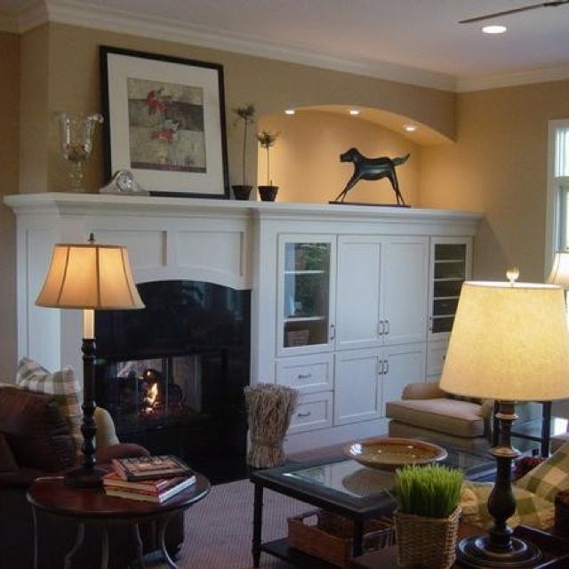 Idea for off center fireplace home decorating - Decorate living room with fireplace ...
