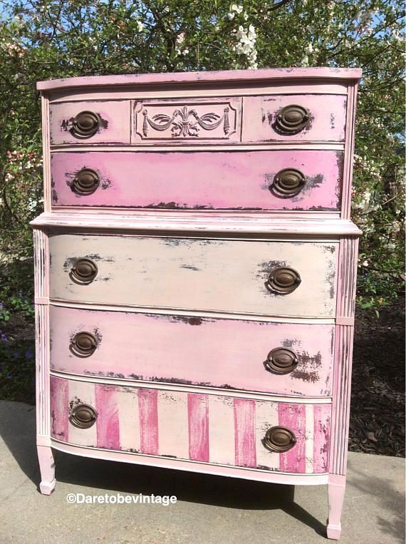 Vintage Pink Dresser Painted Pink Dresser Vintage Highboy #shabbychicdressersdiy