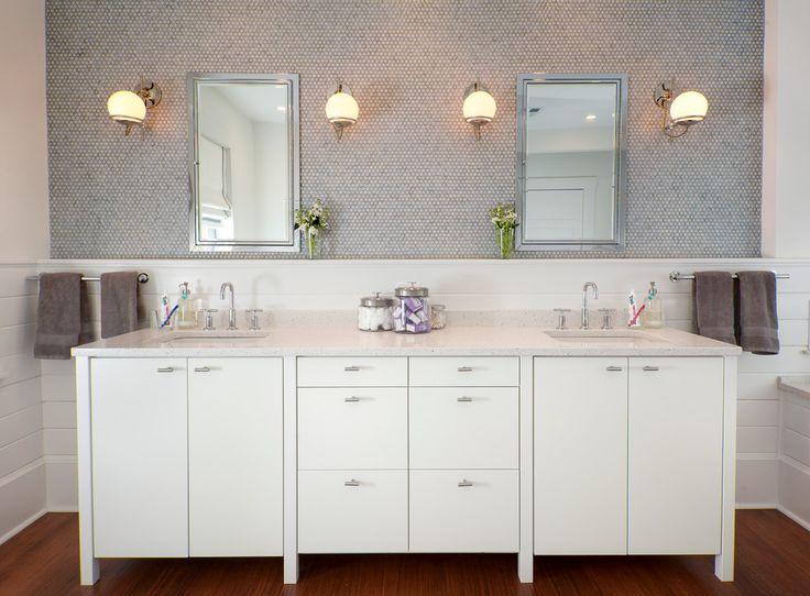 Superb kohler medicine cabinets in Bathroom Transitional with Elegant Bathroom next to Penny Tile alongside White Vanity and Bathroom Beadboard Ideas