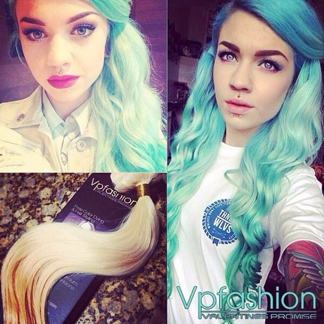 white blonde hair extension dyed to mint hair color for spring look  blue hair color customized blue hair extensions