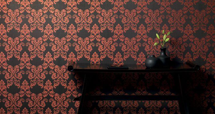 красно-черные обои в гостиную с дамасками бабочками