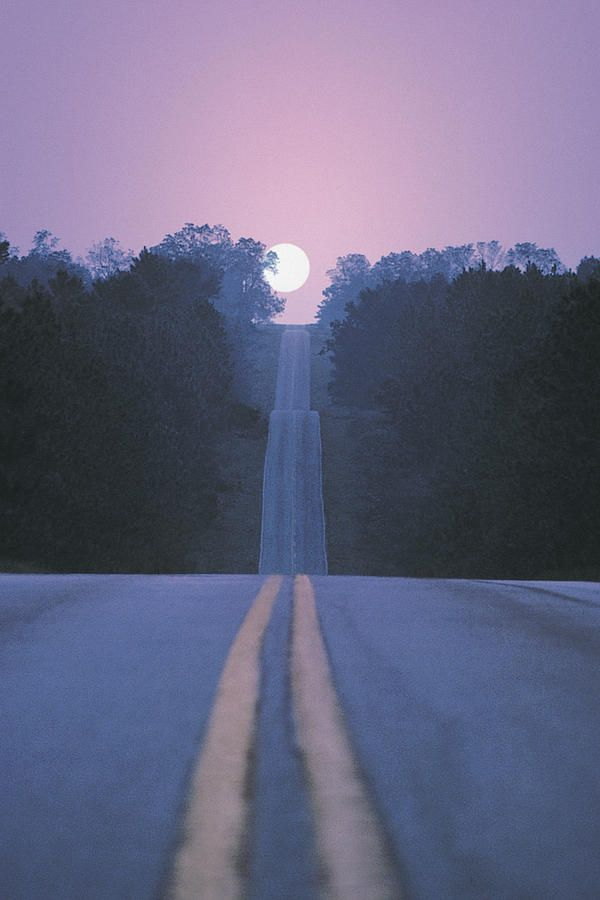 Open Road With Moon Rising Photograph by Comstock