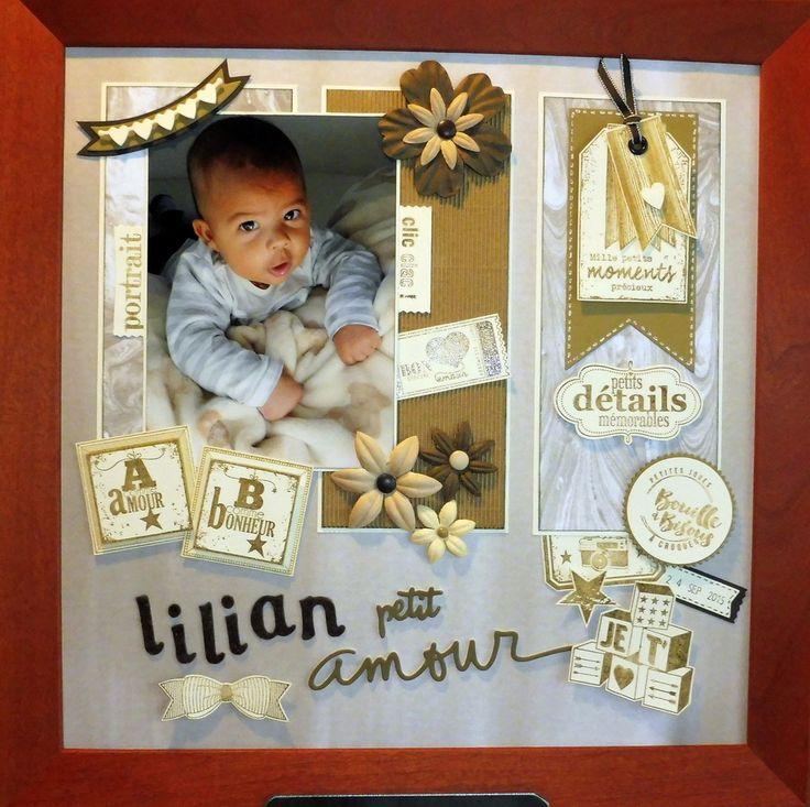 """Lilian Petit Amour, Le papier """"parfaitement artistique"""" en fond de page + rectangles (offert pour 60 € d'achat) est magnifique, l'inspiration étant au rendez-vous, voici ma nouvelle page avec Lilian."""