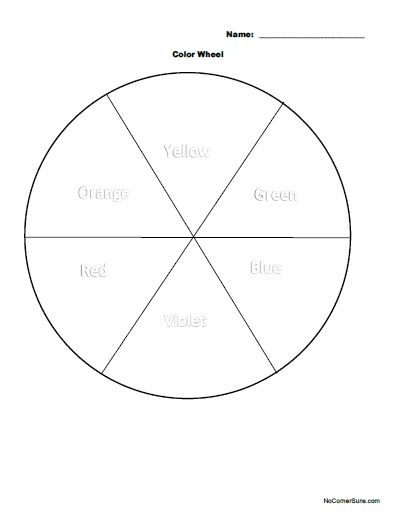 color wheel coloring page yellow on top color wheel worksheetworksheets