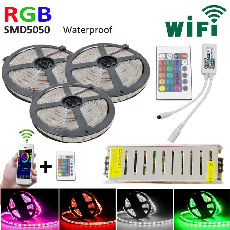 15M LED strip set RGB smd 5050 led Strip tape light  waterproof 450LEDs +WIFI 24key Controller + 12V 78W Powersupply DIY color