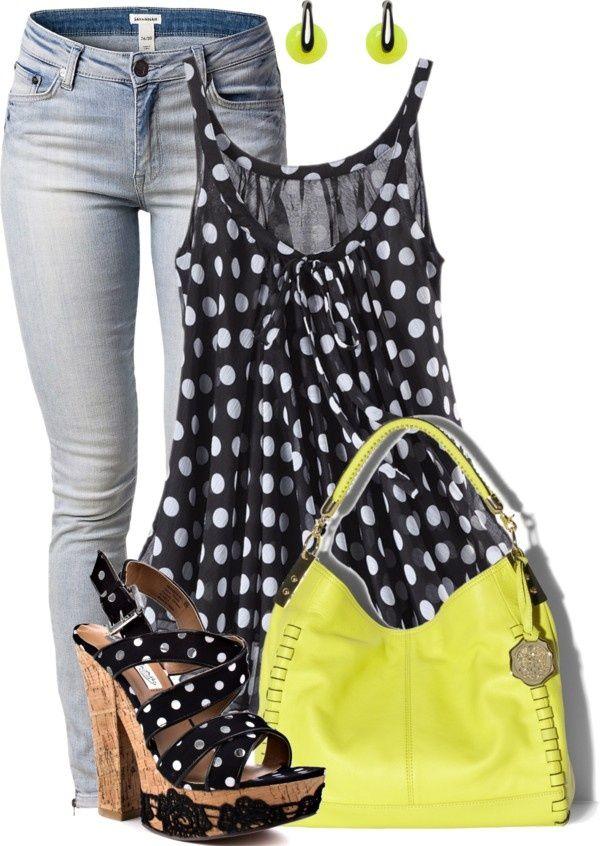 White on Black Polka Dots, Jeans, LIme Green Outfit  LOLO Moda: Stylish women fashion