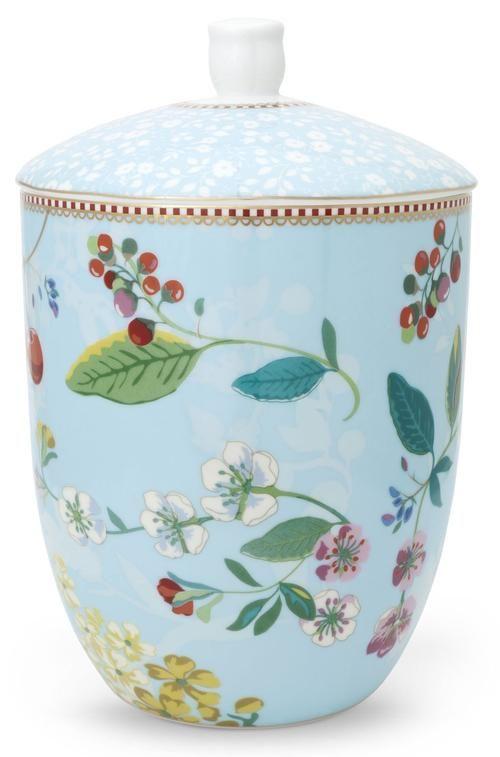 Pip Studio Floral storage jar Hummingbirds blue