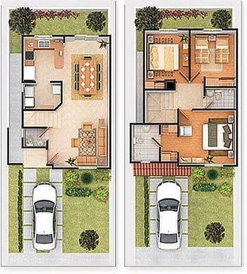 planos de casas de tres habitaciones
