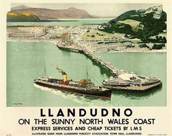 Llandudno on the sunny north Wales Coast : Travel by LMS - Charles Pears (1873-1958)