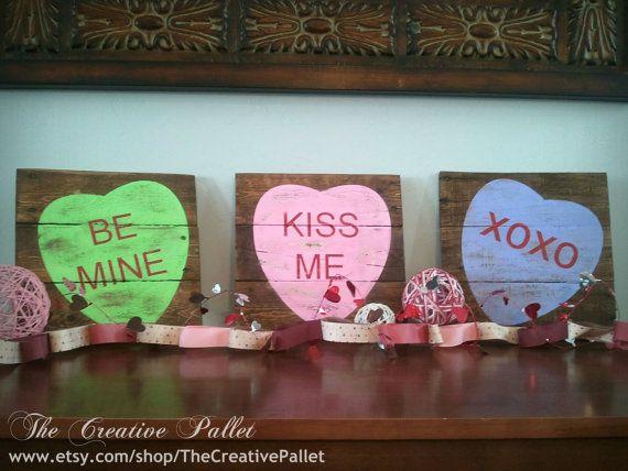 Valentine's Day Sign Conversation Hearts- Individuals Vintage Pallet Wood Decor