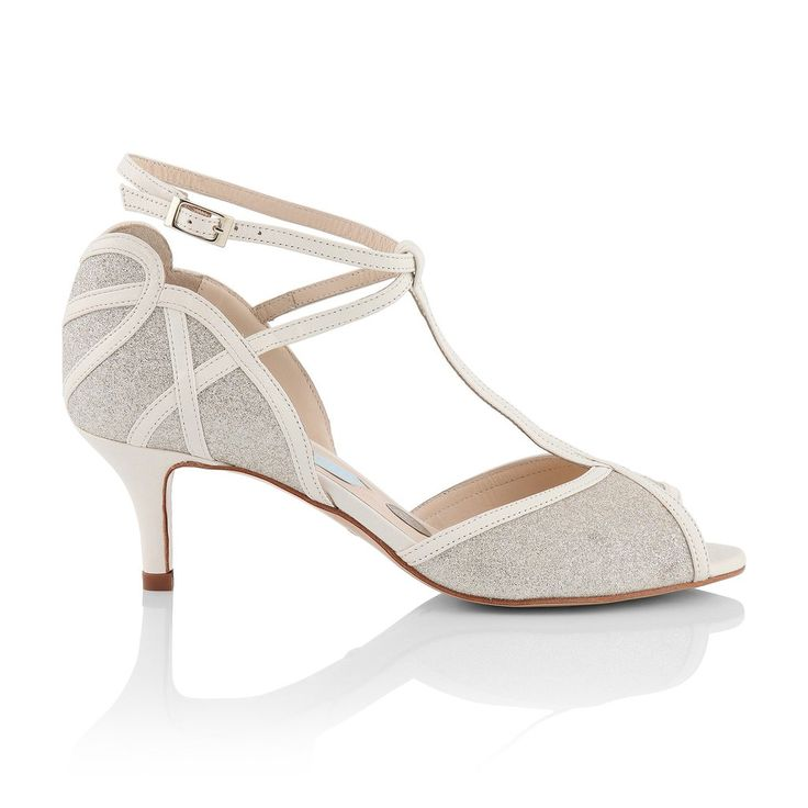 Cora | Charlotte Mills Beautiful vintage look T-bar with cross over ankle straps and pretty heart detailing. This is a perfect low heel wedding shoe.