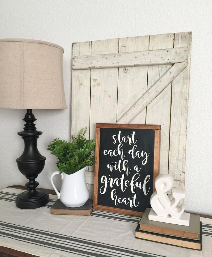 Start each day with a grateful heart. Farmhouse sign, wood sign